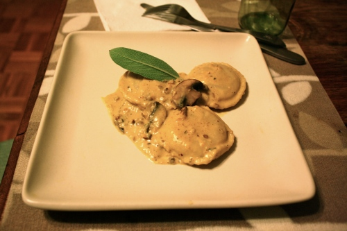 Mushroom Ravioli with Butternut Squash Walnut Sauce